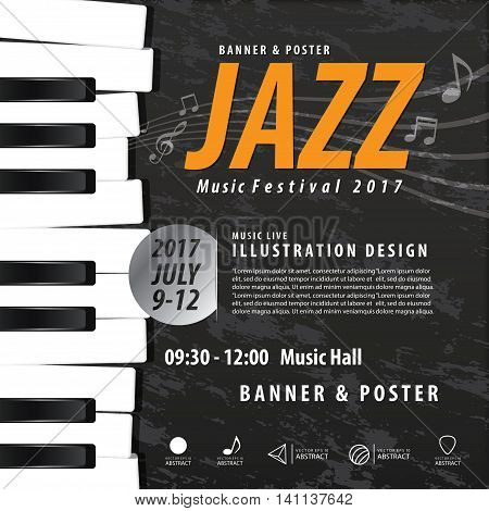Keyboard Musical instrument design realistic style and poster music festival layout for commercial vector. Musical instrument and music concept. poster