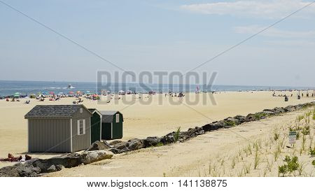 LONG BRANCH, NJ - JUL 16: Beach at Long Branch in New Jersey, USA, as seen on July 16, 2016. It takes its name from the