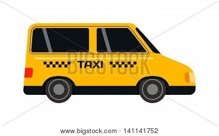 Taxi yellow bus car isolated on white background. Vector yellow taxi bus van and cab transport traffic urban yellow taxi. Road street service yellow taxi bus car isolated, Van truck taxi bus