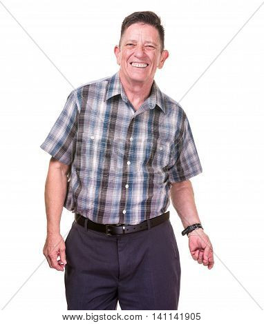Happy and Smiling Transgender Man on White Background