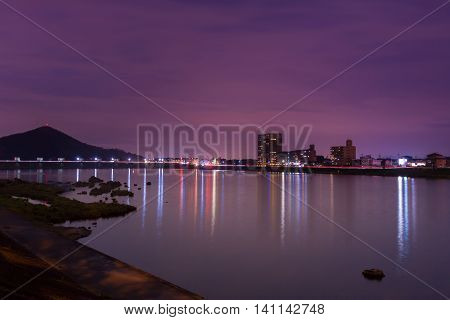 Landscape Of Inuyama City View With Kiso River In Night