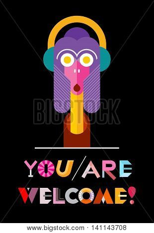 You Are Welcome! - vector decorative text architecture on a black background. Funny smiling cartoon character.