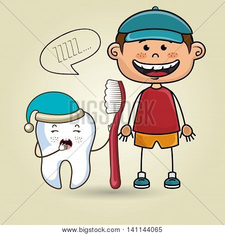 smiling cartoon child wearing coloured clothes holding a toothbrush next to a cartoon sleepy tooth with a hat and a text cloud above it over a colored background vector illustration