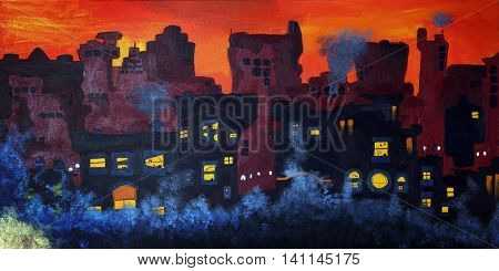 Oil painting of a city scape at sunset.