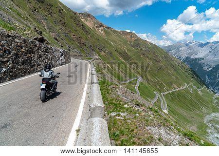 Motorbike On Passo Stelvio