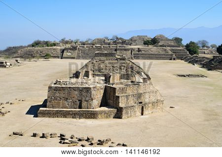 Monte Alban pyramid ruins on Oaxaca, Mexico