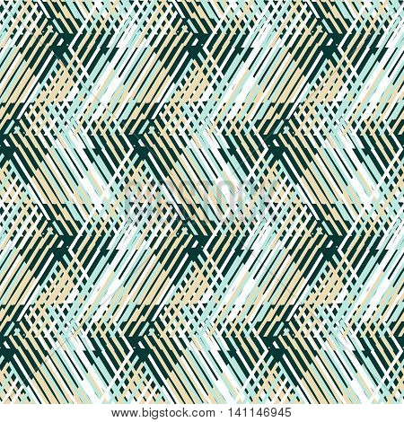 Vector geometric seamless pattern with line and zigzags in  mint green, blue, beige colors. Striped modern bold print in 1980s retro style for summer spring fashion Abstract techno chevron background