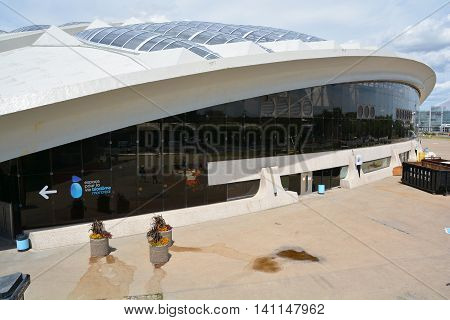 MONTREAL QUEBEC CANADA JULY 15 2016: Biodome that allows visitors to see four ecosystems of America. The building was constructed for the 1976 Olympic Games as a velodrome