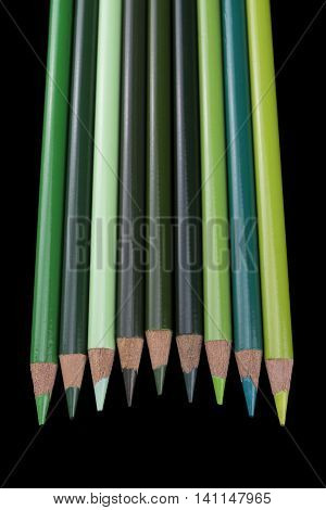9 Green Pencils - Black Background