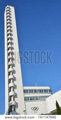 HELSINKI FINLAND SEPTEMBER 25 2015: Tower of the Olympiastadion (Olympic stadium), located in the Toolo district the largest stadium in the country centre of activities in the 1952 Summer Olympics