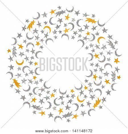 Gold and silver textured space round frame of the star, moon and comet on white background. Design template for banner, greeting card, invitation, postcard, emblem etc. Vector illustration.