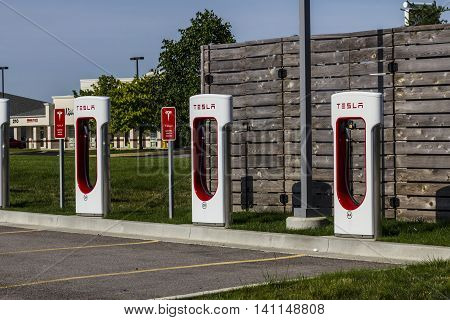 Lafayette IN - Circa July 2016: Tesla Supercharger Station. The Supercharger offers fast recharging of the Model S and Model X electric vehicles X