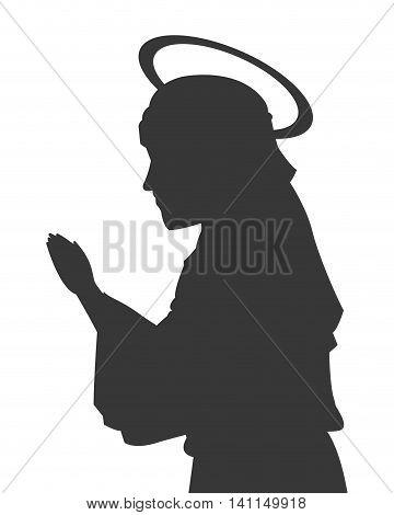 flat design virgin mary silhouette icon vector illustration
