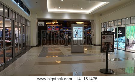 MASHANTUCKET, CT - JUL 23: Tanger Outlets at Foxwoods Casino in Mashantucket, Connecticut, as seen on July 23, 2016. It  is the nations first Tanger Outlets collection of premium brands under one roof.