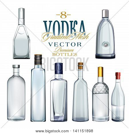 8 different bottles of vodka in a vector.