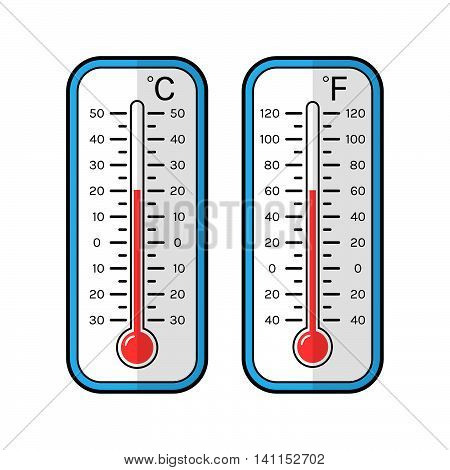 Colored flat icons of thermometers for weather. Scale Celsius and Fahrenheit.