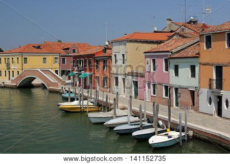 Colorful Houses and boats in Murano Island, Veneto, Italy