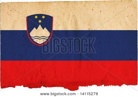 flag of slovene - old and worn paper style