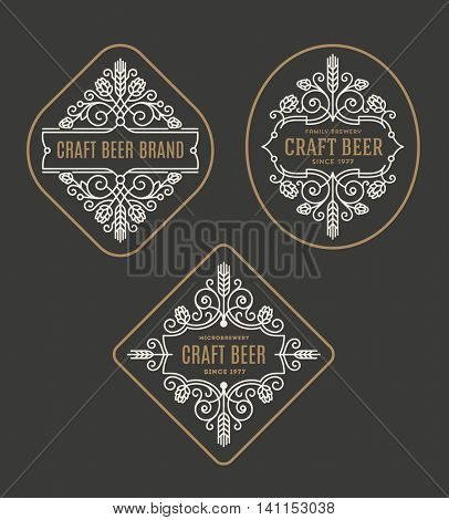 Set of craft beer and microbrewery flourishes emblems and logo - vector illustration