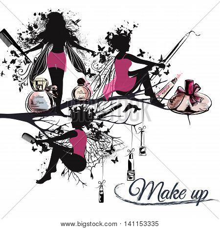 Fashion vector illustration banner or background with silhouettes of fairy girls holding brushes lipstick perfume and liners. Make up concept. Ideal for advertising stylist posters designs
