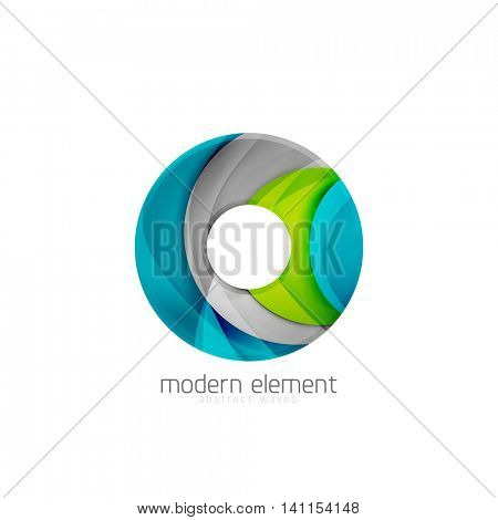 Abstract brand logo design on white. Circle or ring element with bold relief texture effect, 3d imitation wave pattern with shadows. Modern minimal geometric detailed logo
