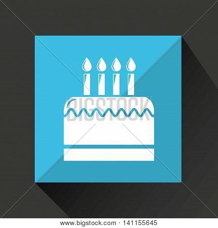 birthday cake, celebration party icon, vector illustration