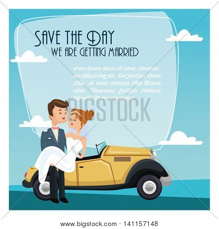car auto classic couple cartoon girl boy man woman save the date wedding icon. Colorfull and flat illustration. Vector graphic