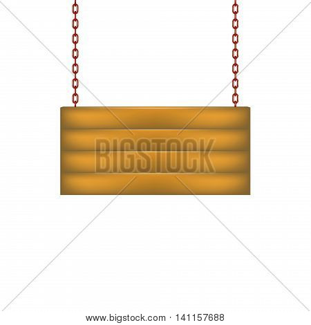 Wooden sign board hanging on chain in red design on white background