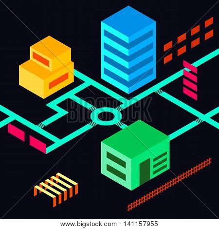 Stock vector isometric city road map flat design with buildings street skyscrapers