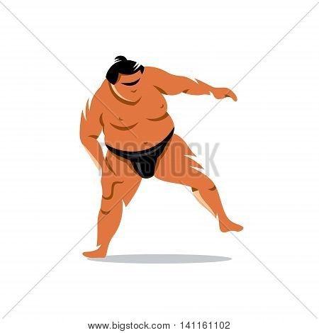 Sumo wrestler in a traditional rack isolated on a white background