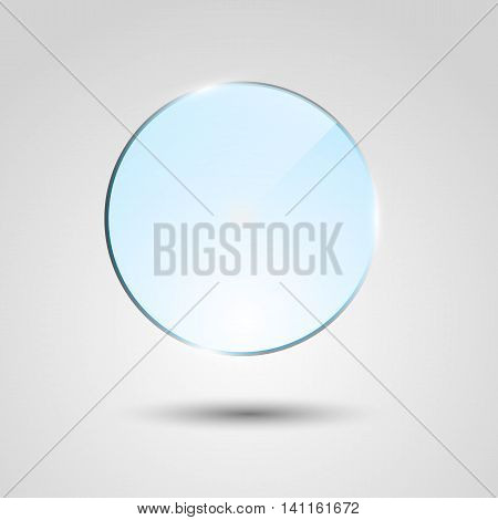 Blue transparent glass circle banner, stock vector
