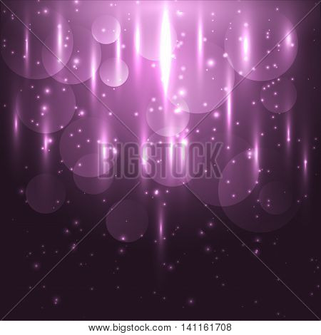 Abstract pink light and bokeh glowing background, stock vector