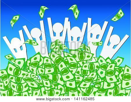 Cash Windfall - Group of happy people waist deep in pile of money celebrating the wndfall