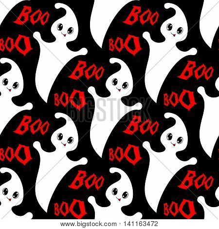 Halloween seamless pattern with cute ghosts. Vector illustration