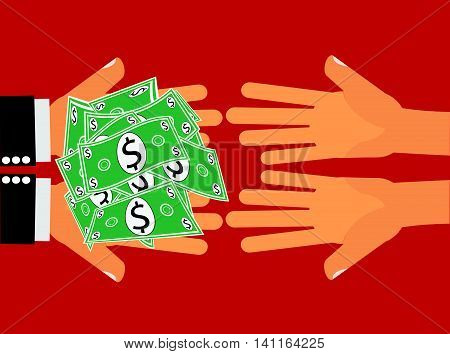 Give Money Cash Dollars  - Give or Receive Money - Hands handing money or dollar cash to another pair of hands