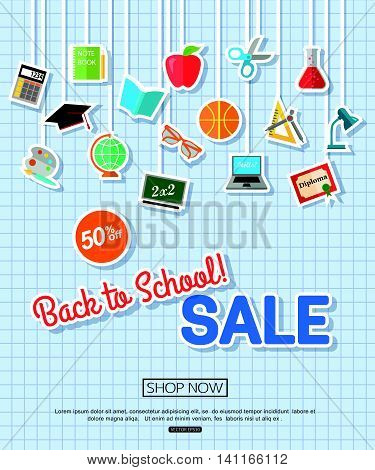 Back to school sale banner. Vector eps 10 format.
