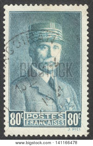 MOSCOW RUSSIA - CIRCA APRIL 2016: a post stamp printed in FRANCE shows a portrait of Marshal Petain the series