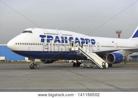 Boeing 747 Transaero Waiting For Boarding.