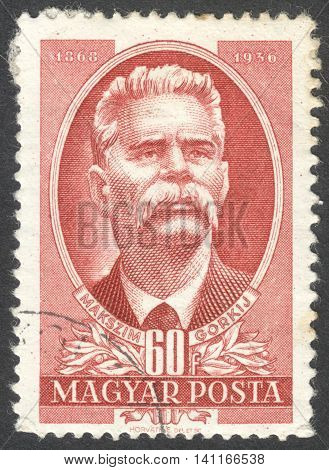 MOSCOW RUSSIA - CIRCA APRIL 2016: a post stamp printed in HUNGARY shows a portrait of Maxim Gorky the series