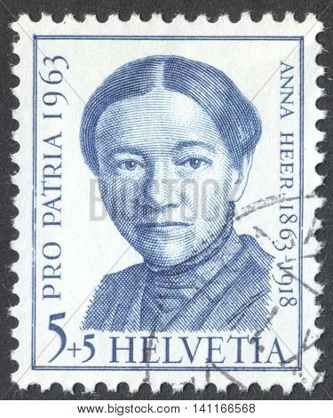 MOSCOW RUSSIA - CIRCA MAY 2016: a post stamp printed in SWITZERLAND shows a portrait of Anna Heer the series
