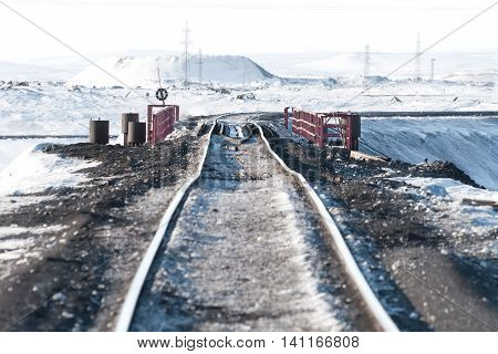 Railway Bridge And Deformation Of The  Track, Built On Permafrost.
