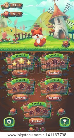 Feed the fox GUI match 3 level map window - cartoon stylized vector illustration mobile format with options buttons game items.