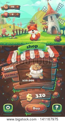 Feed the fox GUI match 3 shop window - cartoon stylized vector illustration mobile format with options buttons game items.