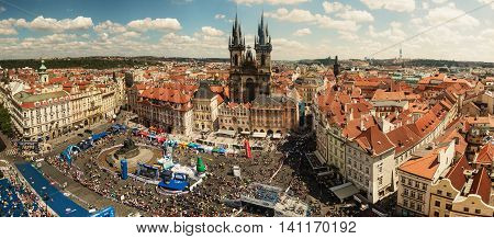 PRAGUE CZECH REPUBLIC - MAY 8 2016: Old Town Square in Prague stalls and athletes at the Prague Marathon footrace. Prague Czech republic