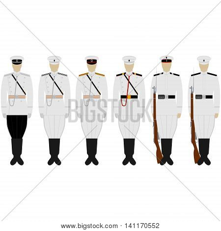 The service uniform of the naval fortress garrisons. The illustration on a white background.