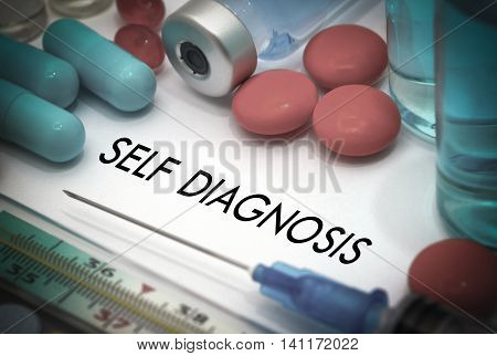 Self diagnosis. Treatment and prevention of disease. Syringe and vaccine. Medical concept. Selective focus
