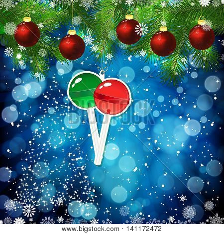 New Year design background. Template card whit red Christmas balls on the green branches . Silhouette of a Christmas tree made of stars. Falling snow. Toy decorative lollypop. Holiday illustration.