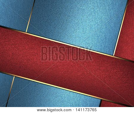 Blue Texture With Red Lines. Template For Design. Copy Space For Ad Brochure Or Announcement Invitat