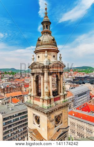 Bell Tower Of St.stephen Basilica In Budapest At Daytime. Hungary