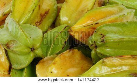 Star fruit natural conditions, bunch starfruit closeup